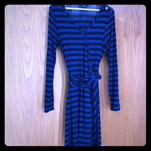 Nautical-style Blue/Black Striped Wrap Dress.